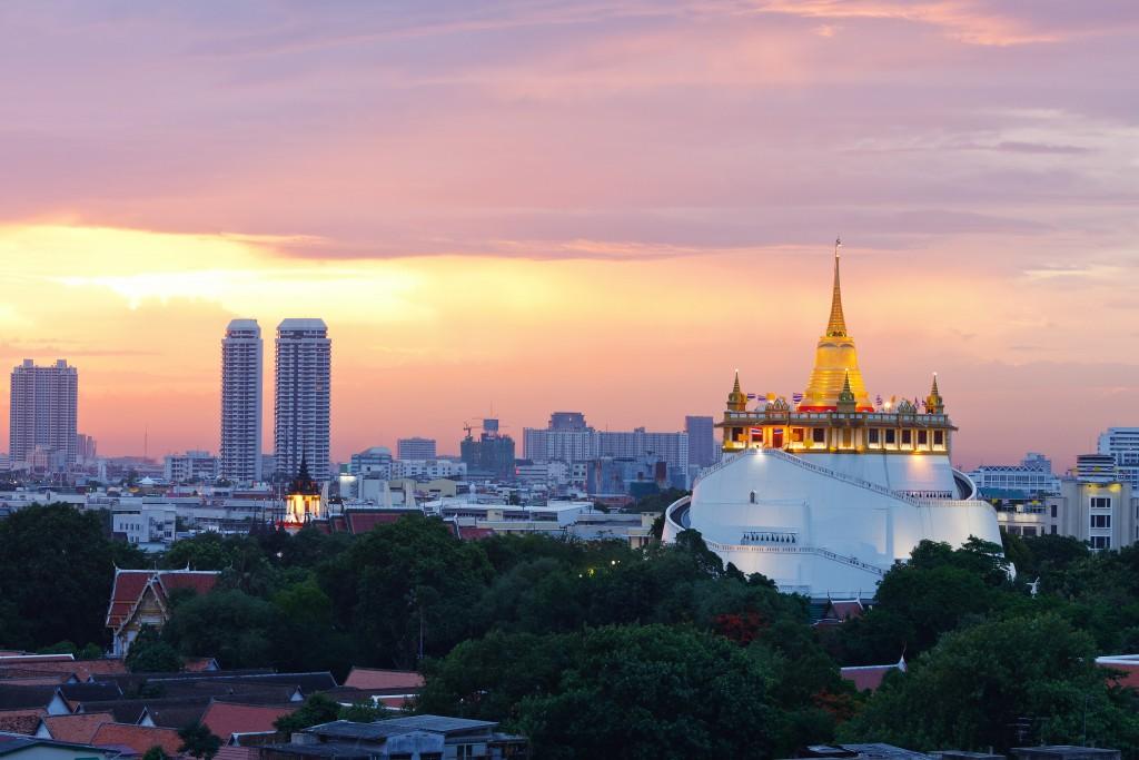 Bangkok city at twilight top view